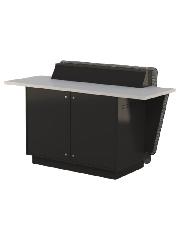 Side view of double bay G-Series lectern Black