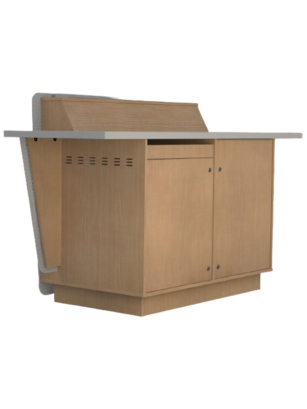 Double bay lectern with optional left hand keyboard drawer.