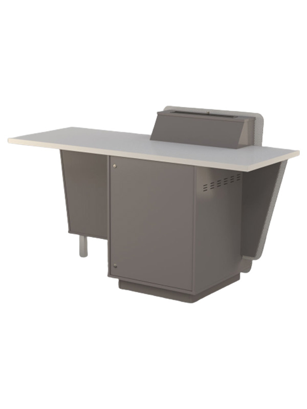 Presenters side, built from Lava grey and White melamine board.