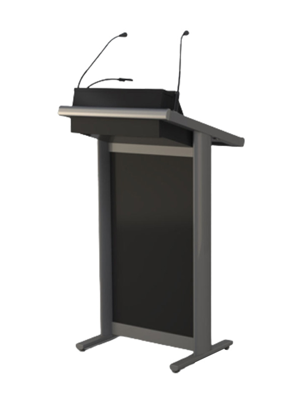 Single bay Silver Lecturer with control panel head. Viewed from audience side