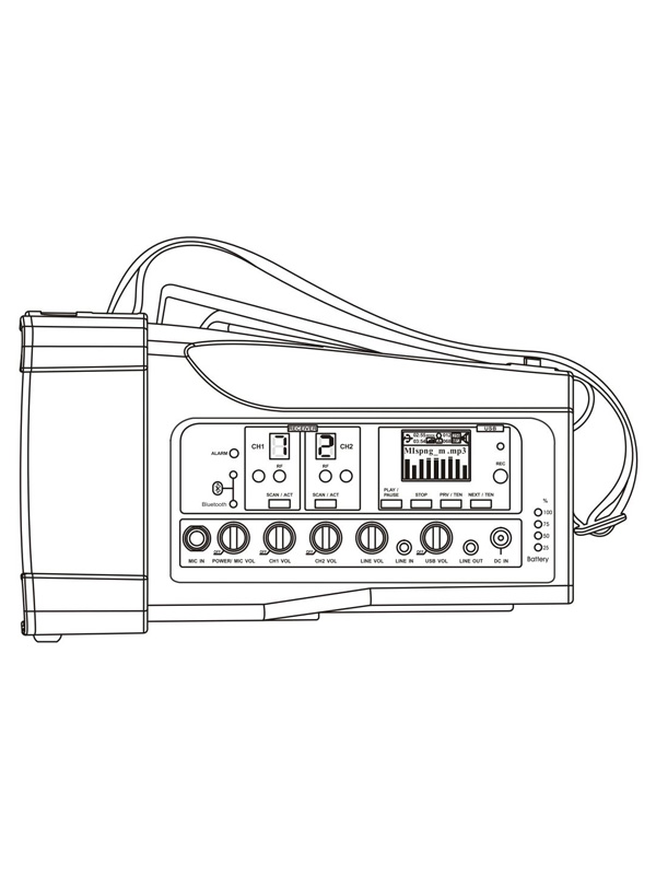 Built-in high capacity lithium battery provides the amplifier complete