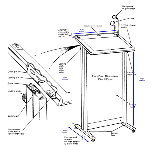 Multimedia Chancellor Lectern with Aluminum Frame Dimensions