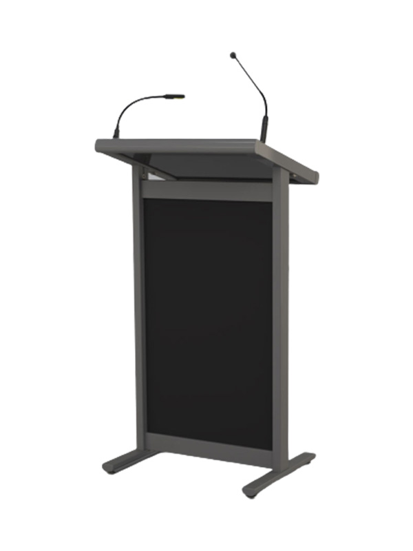 Tutor lectern shown with microphone and LED options