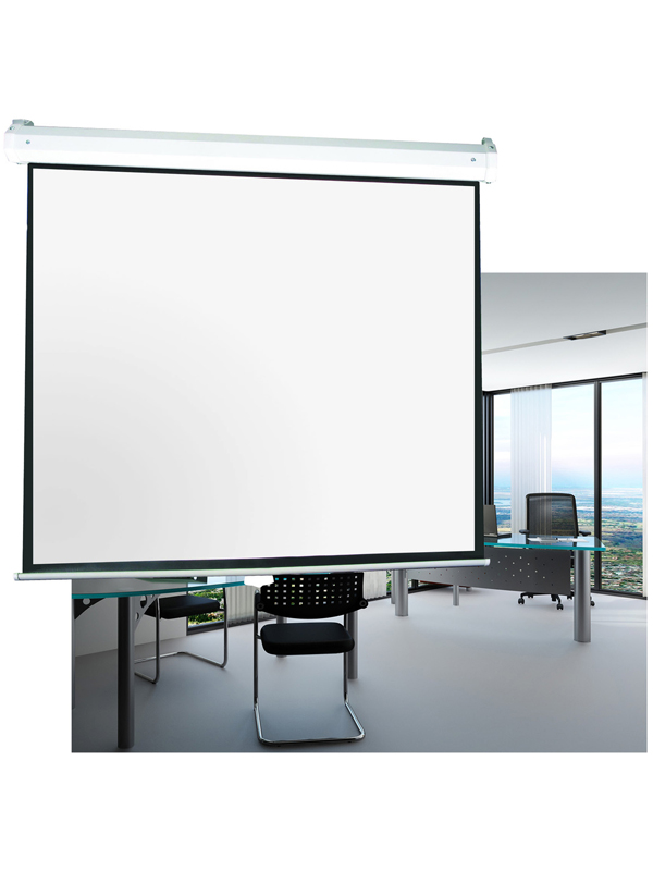 Wall mounted motorized projection screens