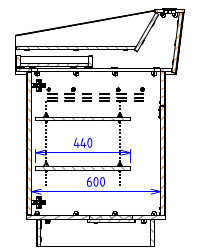 Single Bay - Flat work surface with angled back