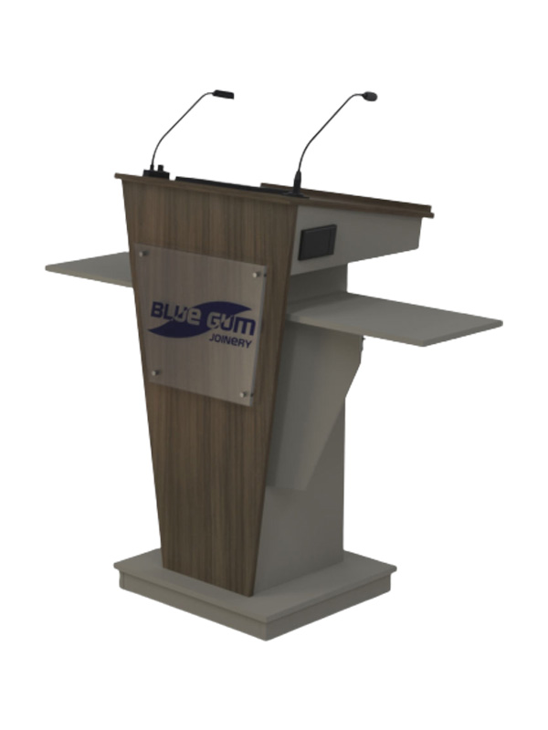 Standard Melamine Lectern with two shelves, a lockable door & lift up lid