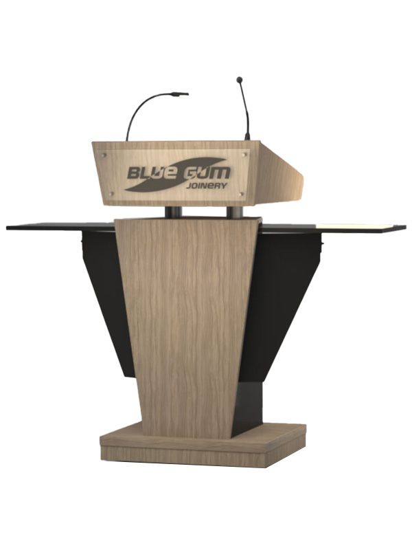 Post style lectern with lockable cabinet and angled lift up worktop