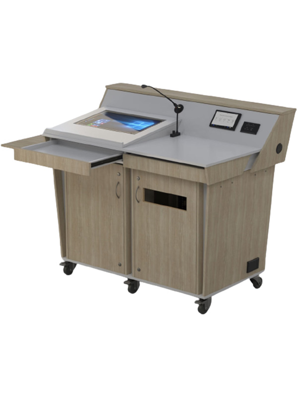 Double bay lectern with castor wheel base and various options.