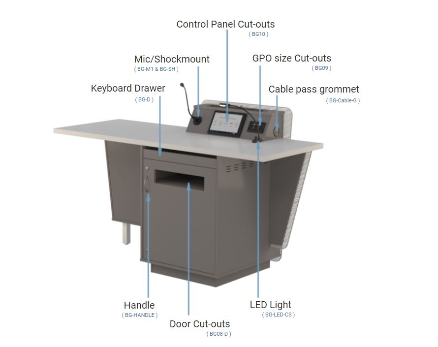 G-Series Presenter Table with multiple options