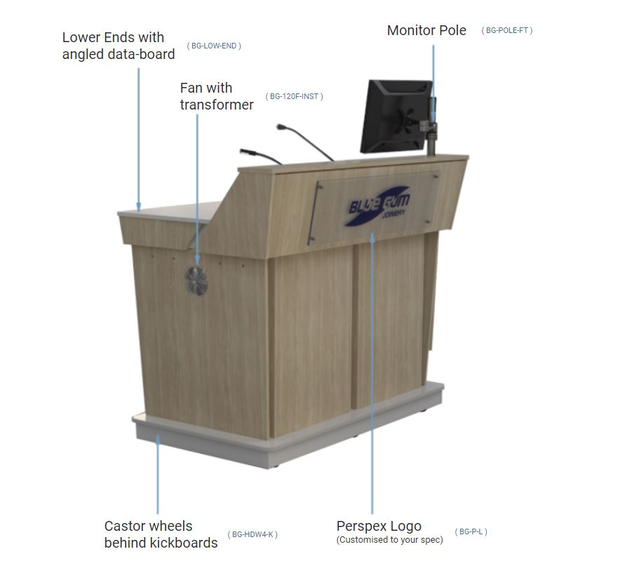 Top Quality Options available to order with your A-Series Single bay lectern in NSW.