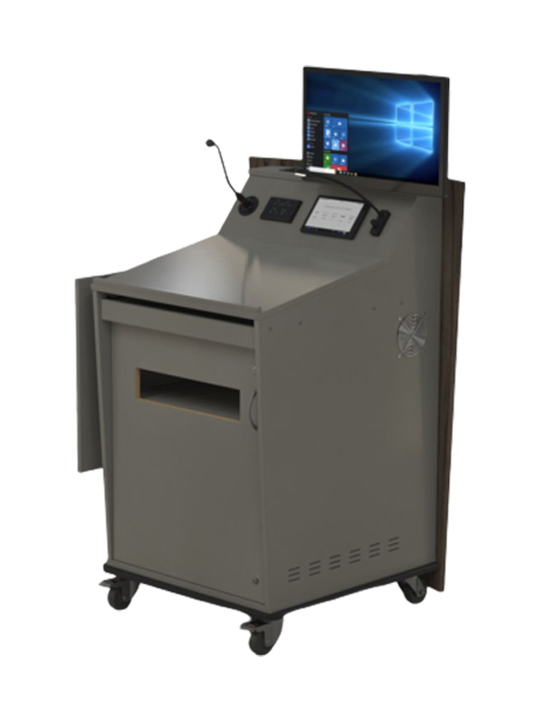 Single bay lectern with external shelf in lowered position.